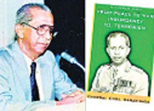 General Cyril Ranatunga and the cover of his book, From Peace to War: Insurgency to Terrorism