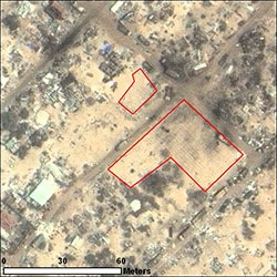 "By 24 May 2009, an area across the street from the original graveyard in this image has been cleared and is also being used for burials. AAAS analysis suggested that 342 new graves were dug at this site in Sri Lanka's ""no-fire zone"" following the 9-10 May episode of renewed fighting."