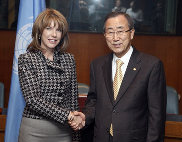 UN's Ban and Ms. O'Brien, UN position on detained and tortured staff not shown