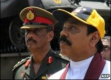Gen Fonseka (left) is said to be at odds with President Rajapaksa (right)