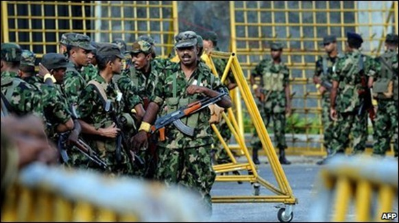 Sri Lanka's military initially denied troops were stationed outside the hotel