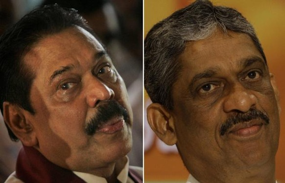 AP A combo photo of Sri Lankan President Mahinda Rajapaksa, left, and presidential candidate of the common opposition and former military chief Gen. Sarath Fonseka. File photo