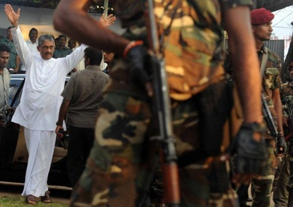 Sri Lanka's main opposition presidential candidate General Sarath Fonseka at a political rally close to Colombo