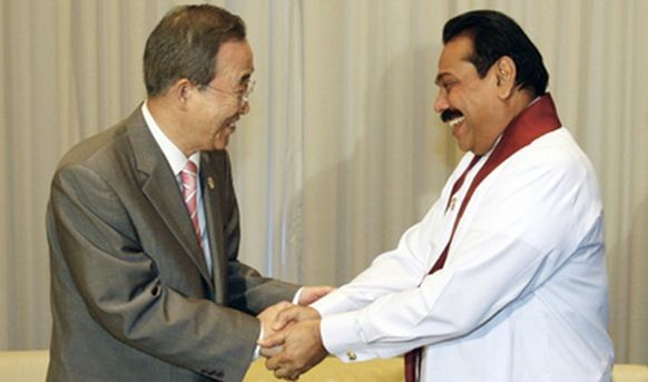 UN's Ban appears to congratulate M. Rahapaksa, July 2009, after bloodbath on the beach