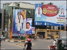 Buildings in Tangalle are draped in posters of the Rajapaksa candidates