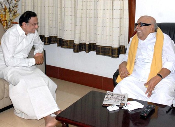 Union Home Minister P. Chidambaram meets Tamil Nadu Chief Minister M. Karunanidhi at his residence on Sunday. Photo Courtesy : DIPR