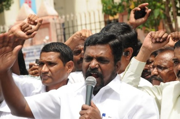 VCK leader Thol Thirumavalavan at a protest rally in Chennai