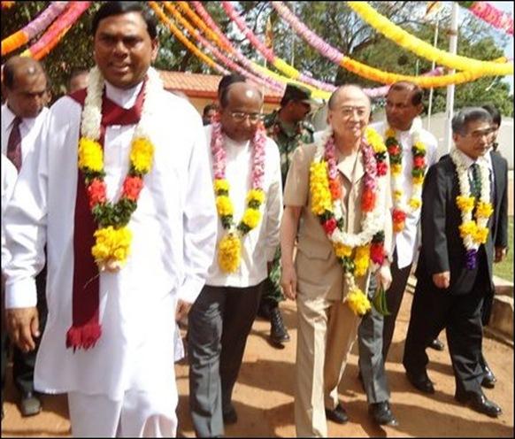 Japanese Envoy Yasushi Akashi accompanies Basil Rajapaksa to Ki'linochchi
