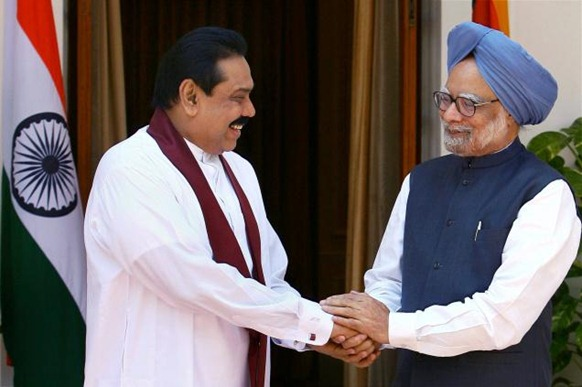 PTI Prime Minister Manmohan Singh with Sri Lankan President Mahinda Rajapaksa during a meeting in New Delhi on Wednesday. Photo: PTI
