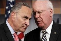 Democratic Senator Charles Schumer and Justice Committee chairman Patrick Leahy