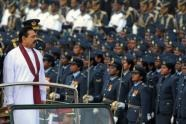 """President Mahinda Rajapakse took the salute at the """"Victory Parade"""" attended by thousands of troops"""