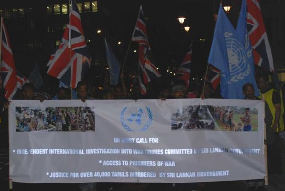 "British Tamils held a ""midnight vigil"" outside Downing Street on Friday highlighting the plight of the displaced Tamils in Sri Lanka."