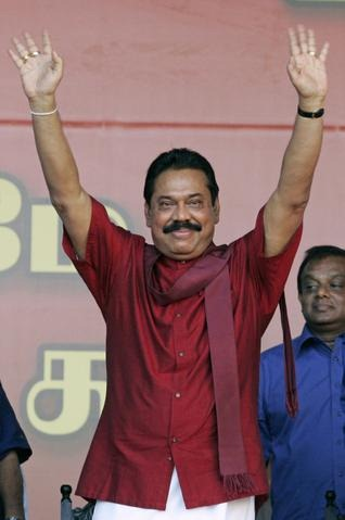 AP Sri Lankan President Mahinda Rajapaksa at a rally in Colombo in May.