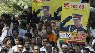 Thousands protested in Colombo after the arrest of then Gen Fonseka