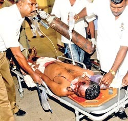 An injured bystander being attended to in hospital