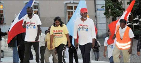 Walk-For-Justice: [L-R] Mr. Vinoth from France, Mrs. Thevaki Kumar from Switzerland and Mr. Jegatheeswaran Arunachalam from Australia.