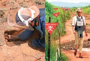 Mine clearance work, left, in western Angola, which stands to lose most from the cuts; Princess Diana at work with the Halo Trust in Angola in 1997