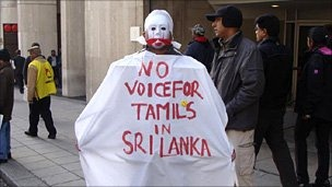 Hundreds of pro-Tamil protesters gathered outside as the foreign minister spoke in London