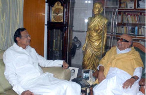 Union Home Minister P. Chidambaram with Chief Minister M. Karunanidhi at the latter's Gopalapuram residence in Chennai on Saturday.