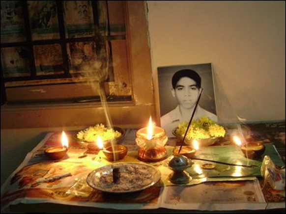 Homage paid in silence under oppressed circumstances inside a house at a locality in the NorthEast on Saturday