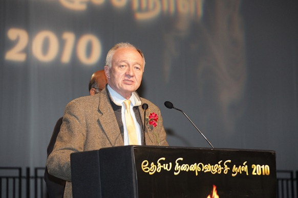 Ken Livingstone, a prominent figure of the Left in British politics, addressing the gathering in London on Tamil Heroes Day