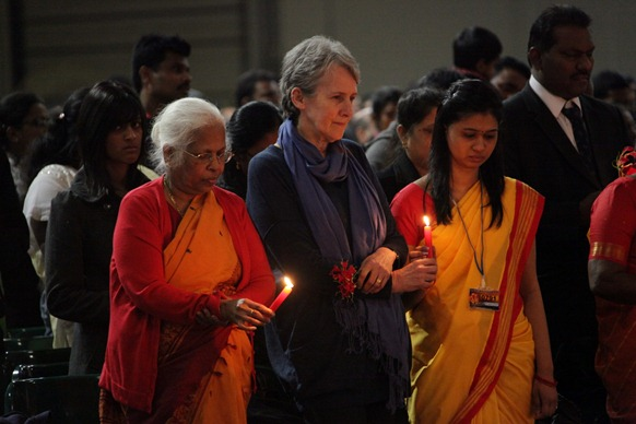 Mrs Adele Balasingham paying homage to the fallen heroes at the UK event