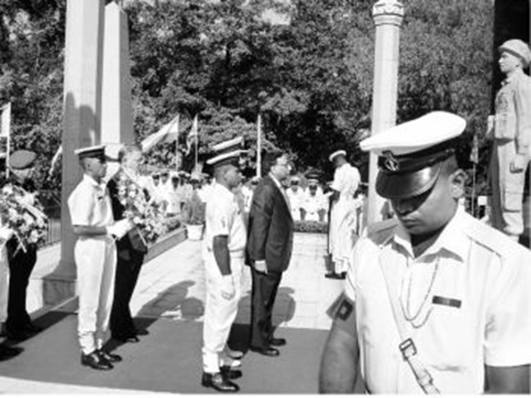 REMEMBERING THE JAWANS:Defence Secretary Pradeep Kumar pays tributes at the IPKF memorial in Colombo on Tuesday. Standing behind him is the Indian High Commissioner to Sri Lanka, Ashok Kantha.