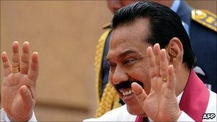 President Mahinda Rajapaksa's visit to the UK has been disrupted by protesters