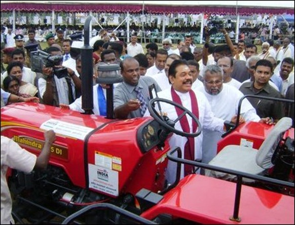 Krishna's gift of Indian tractors, re-gifted by Mahinda Rajapaksa in Jaffna