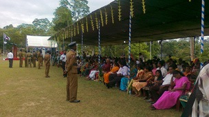 The recruits' parents attended the ceremony in Colombo