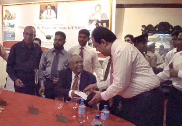 The Hindu Inspector-General of Police Mahinda Balasuriya (seated) at the release of his book at the Senior Police Officers Mess in Colombo on Sunday. Photo: R.K. Radhakrishnan