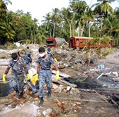 A picture of the devastation caused by the December 2004 tsunami near the town of Telwatta in southern Sri Lanka.