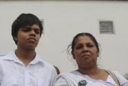 Sandya Ekneligoda, (R) and Sanjay (L) wife and son of the missing Sri Lankan journalist Prageeth Ekneligoda