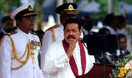 """Sri Lankan premier Mahinda Rajapakse said this year's May Day rally should be turned into a """"show of our strength"""""""