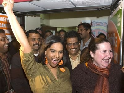 SCARBOROUGH-ROUGE RIVER: Rathika Sitsabaiesan elected new MP. Scarborough-Rouge River NDP candidate Rathika Sitsabaiesan celebrates her victory with her campaign manager Andrea Moffat and supporters Monday. (May 2, 2011)  Staff photo/DAN PEARCE