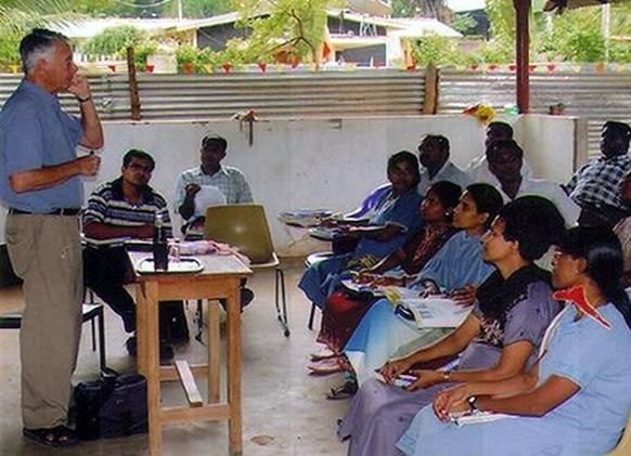 Teaching Tamil Tiger medical students in Sri Lanka in 2005.