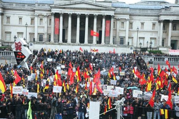 Special Arrangement British Tamils at the vigil held in Trafalgar Square.