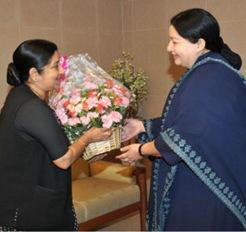 COURTESY CALL:BJP leader Sushma Swaraj greeting Chief Minister Jayalalithaa in Chennai on Saturday.