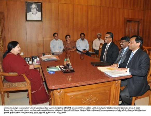 Photo : DIPR Sri Lankan High Commissioner to India Prasad Kariyawasam calling on Chief Minister Jayalalithaa at the Secretariat on Thursday. Sri Lankan Deputy High Commissioner (South India) V.Krishnamoorthy is in the picture.