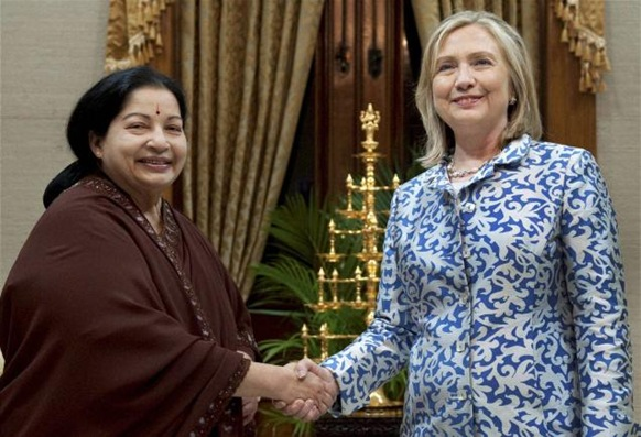 PTI Tamil Nadu Chief Minister J. Jayalalithaa greets U.S. Secretary of State Hillary Rodham Clinton during their meeting in Chennai on Wednesday.