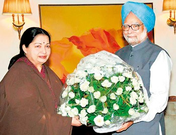 Chief Minister Jayalalithaa meets Indian Prime Minister Manmohan Singh on June 15 in New Delhi. Pic courtesy Hindu