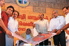 Old Pedestal: Karunanidhi at the World Tamil Conference in Coimbatore last year