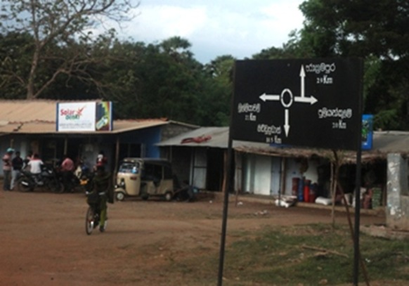 A Sinhala-only signboard at an important junction in Puthukudyiruppu