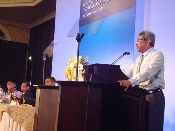 "The Hindu Sri Lankan Defence Secretary Gotabaya Rajapaksa speaking before the launch of the report ""Humanitarian Operation — Factual Analysis"" compiled by the Ministry of Defence, in Colombo on Monday. Photo: R.K. Radhakrishnan"