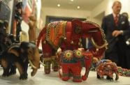 Sri Lankan hand-crafted elephants on display at a tourism exhibition (AFP, Lakruwan Wanniarachchi)
