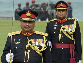 Accused of war crimes former general Jagath Dias (l) was recalled to Colombo in September (AFP)