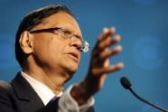 Gamini Lakshman Peiris speaks during a press conference at the Commonwealth Heads of Government Meeting (AFP, William West)