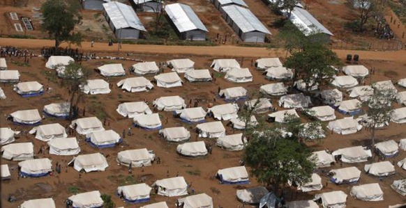 AP An aerial view shows tents at Manik Farm displaced persons camp in Vavuniya in Sri Lanka. File Photo.