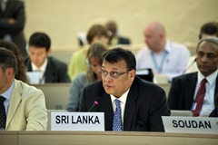 Mahinda Buddhadasa Samarasinghe, Cabinet Minister of Disaster Management and Human Rights of the Democratic Socialist Republic of Sri Lanka, addresses the 12th Session of the Human Rights Council in Geneva, Switzerland.