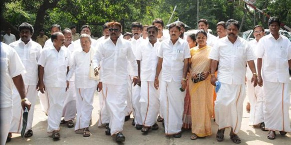 The Hindu DMDK chief Vijayakant and party MLAs coming out of Raj Bhavan after meeting Governor K. Rosaiah on Saturday. Photo: Special Arrangement
